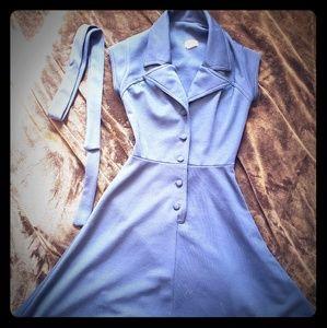 1970s Dark Blue Shirtwaist Dress with tie belt